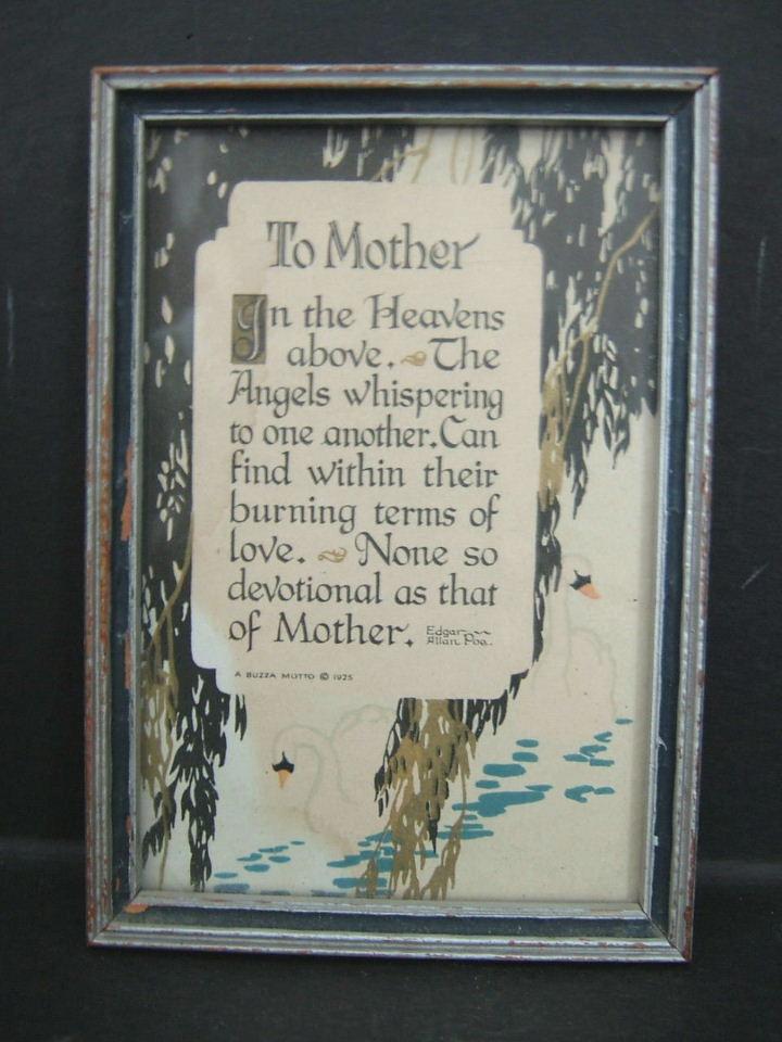 1925 Edgar Allan Poe Mother Motto Framed Print