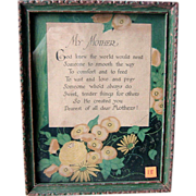 Mother Framed  Motto   1920s Art Deco Design Hand Signed