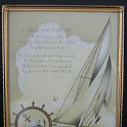 """Father is the Captain"" Framed Motto Print  1920's"
