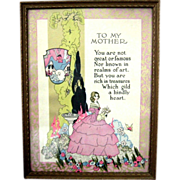 "Mother Motto Print  ""To My Mother"" Art Deco Era Framed"