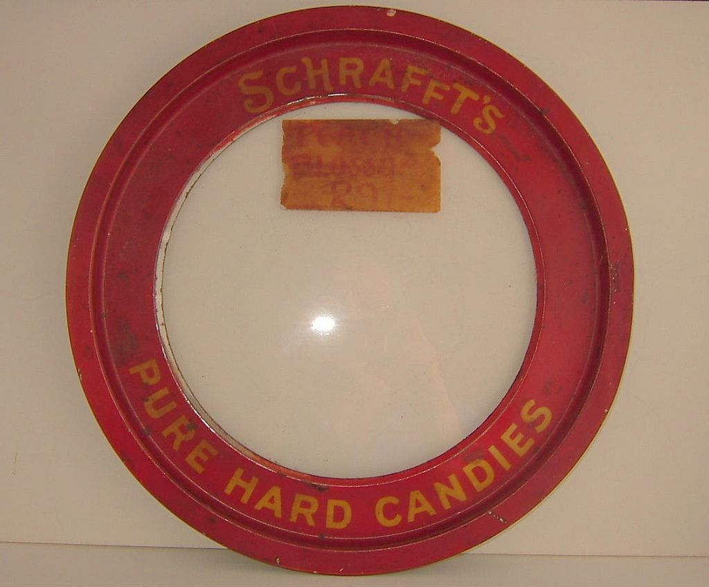 Schrafft's Candy Store Tin Lid Glass Center with Old Red Paint