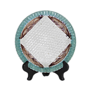 Majolica Napkin Plate with Basket Weave Background  English