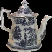 1849 Jeddo Pattern Flow Blue Coffee Pot William Adams