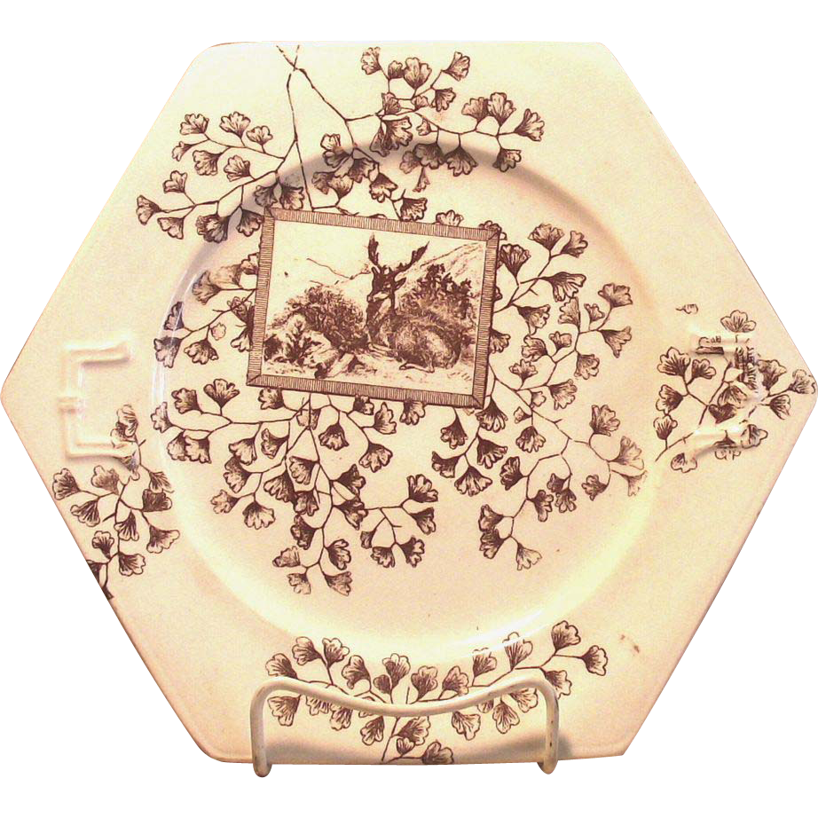 Brown and White Transferware Cake Plate Aesthetic Movement c. 1890