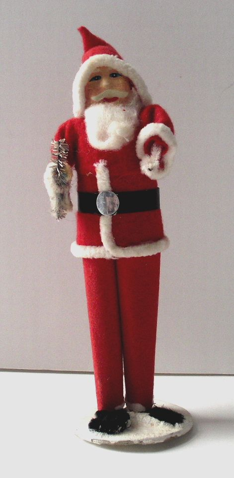 Paper Mache' Face Japanese Santa Claus Holding Tree