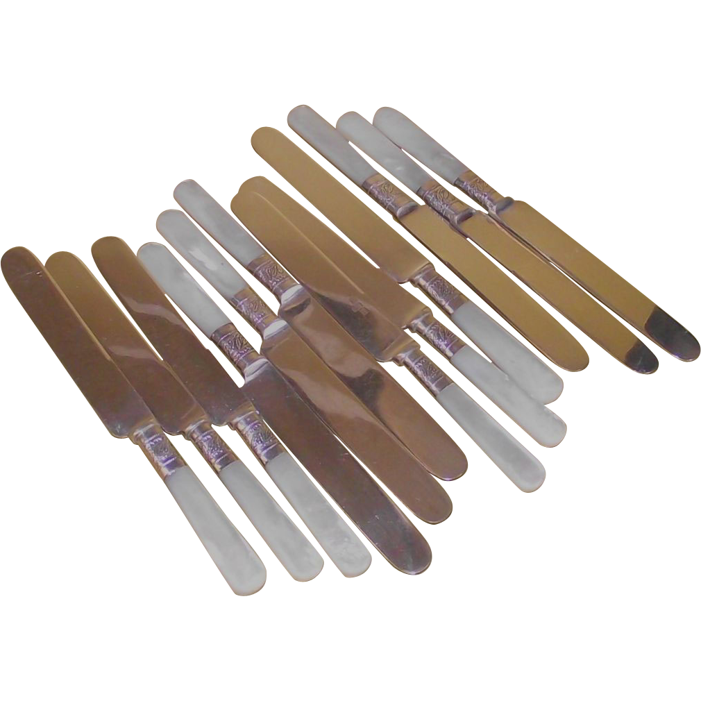 Mother of Pearl Handle Sterling Holly Pattern Ferrules 12 Piece Dessert Knives