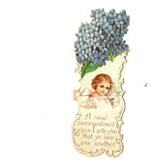 Heavily Embossed Die Cut Bookmark Lilacs and Little Girl