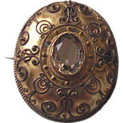 C.1850 Gilt over Silver Etruscan Brooch with Citrine