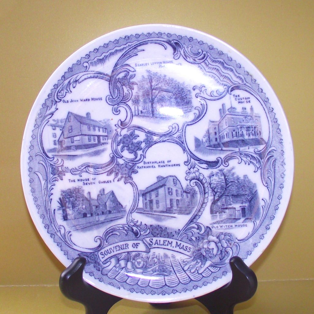 Salem Mass Blue and White Collectors Plate