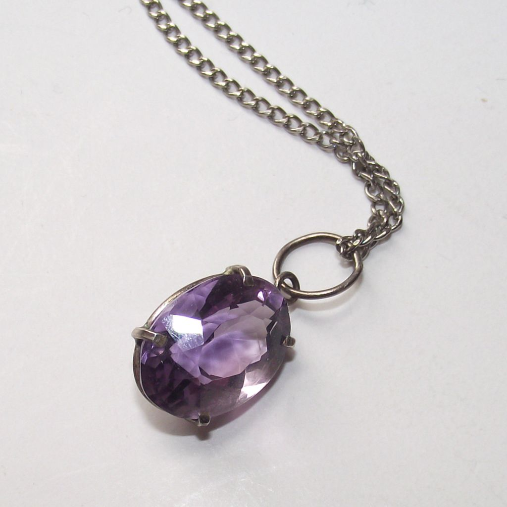 Purple Stone Pendant on Silver Chain - Beautiful Stone
