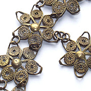 Wrapped Wire Flowers Bracelet with Floral Charm Drop 1930's