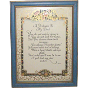 Father Motto Hard to Find Framed Artist Sgnd MAH