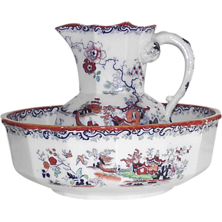 Mason's 1813-1829  Pitcher and Bowl Polychrome Chinoiserie Ironstone