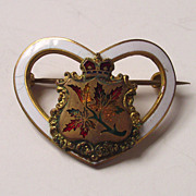 C.1900 Heart Shaped Enamel Brooch with Canadian Maple Leaves and Crown