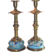 Longwy Candle Holders Tall Pair