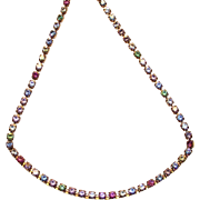 Tiny Rhinestone Line Necklace by Avon in Pastel Colors