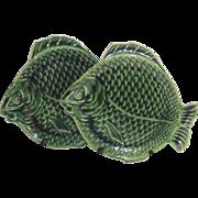 Dryden Tin Glaze Arts and Crafts Green Fish Plate