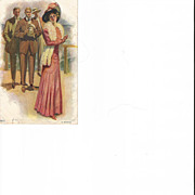 Gibson Style Edwardian Lady With Men Looking at Her Post Card
