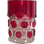 EAPG Ruby Stained Block and Star Tumbler