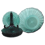1939 Jeanette Ultramarine Teal Swirl Pattern Dessert Bowl and 6 Plates