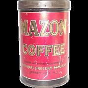 Mazon Coffee Tin Jersey City NJ General Store Advertising