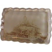 Falmouth Mass. Town Hall Glass Paperweight
