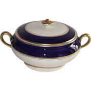 Steubenville Covered Vegetable Dish Cobalt Blue and Cream