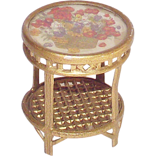 Doll House Gilt Metal Side Table – Glass Top Garden Table