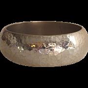 Mexican Sterling Hammered Wide Bangle Bracelet