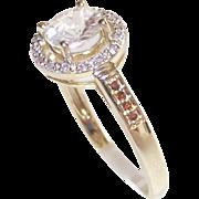 10 Kt Yellow Gold  1Kt + White Zircon with Red Diamonds sz. 8
