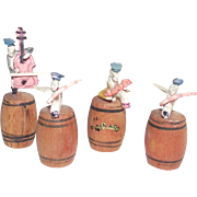 Japanese Celluloid Cricket Band Sitting on Wooden Kegs Vintage 1950s Miniatures