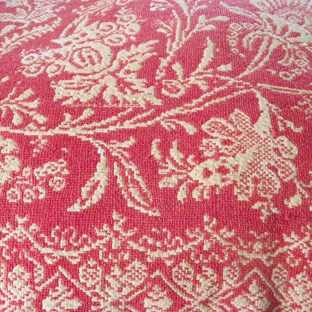 American Jacquard Coverlet Coral and Cream Double Dated 1829 – 1856