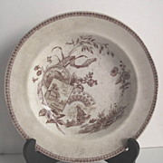 Aesthetic Movement Brown & White Transfer ware Flat Soup