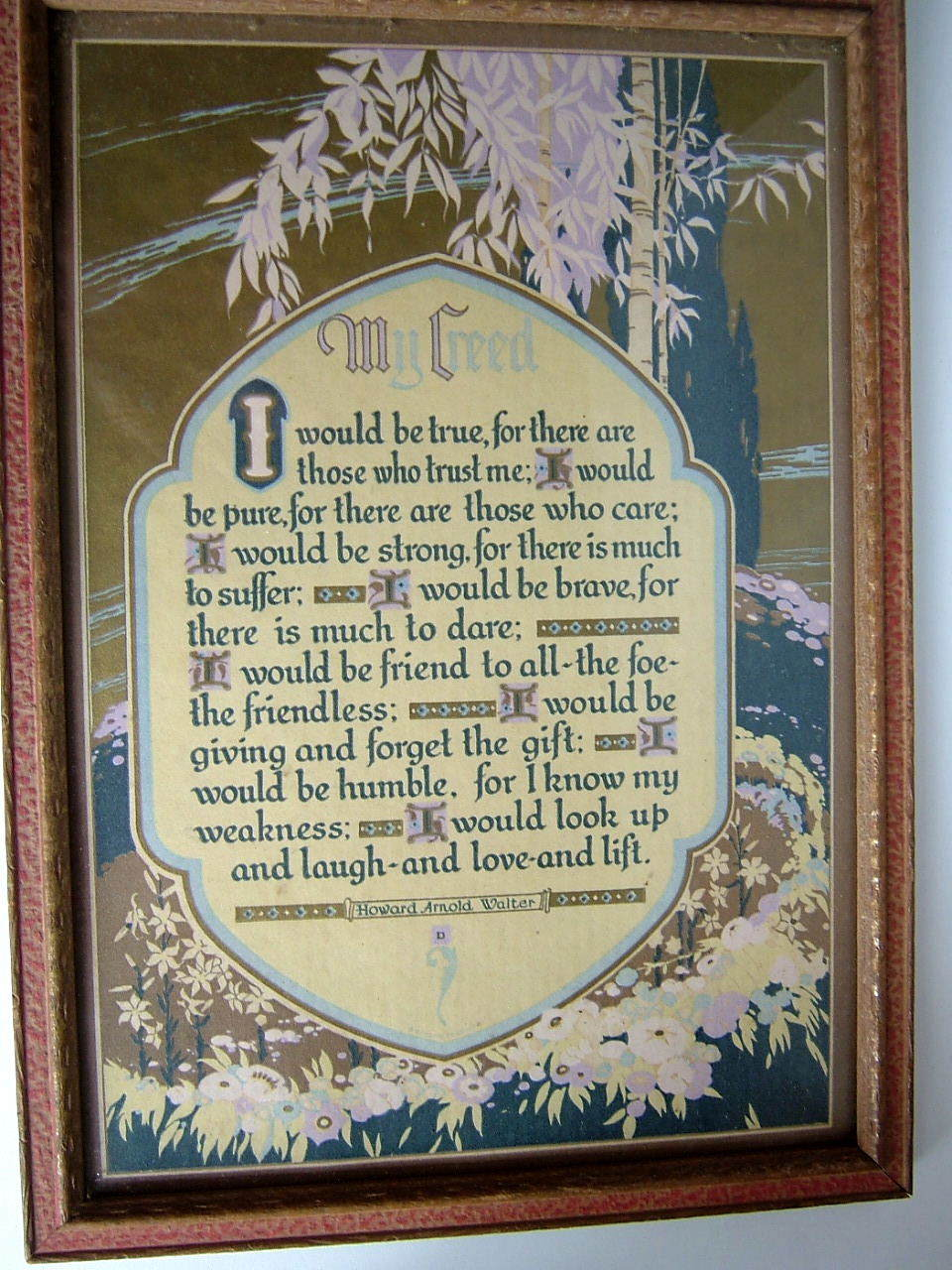 "1920's Framed ""My Creed""  Signed Motto Print"