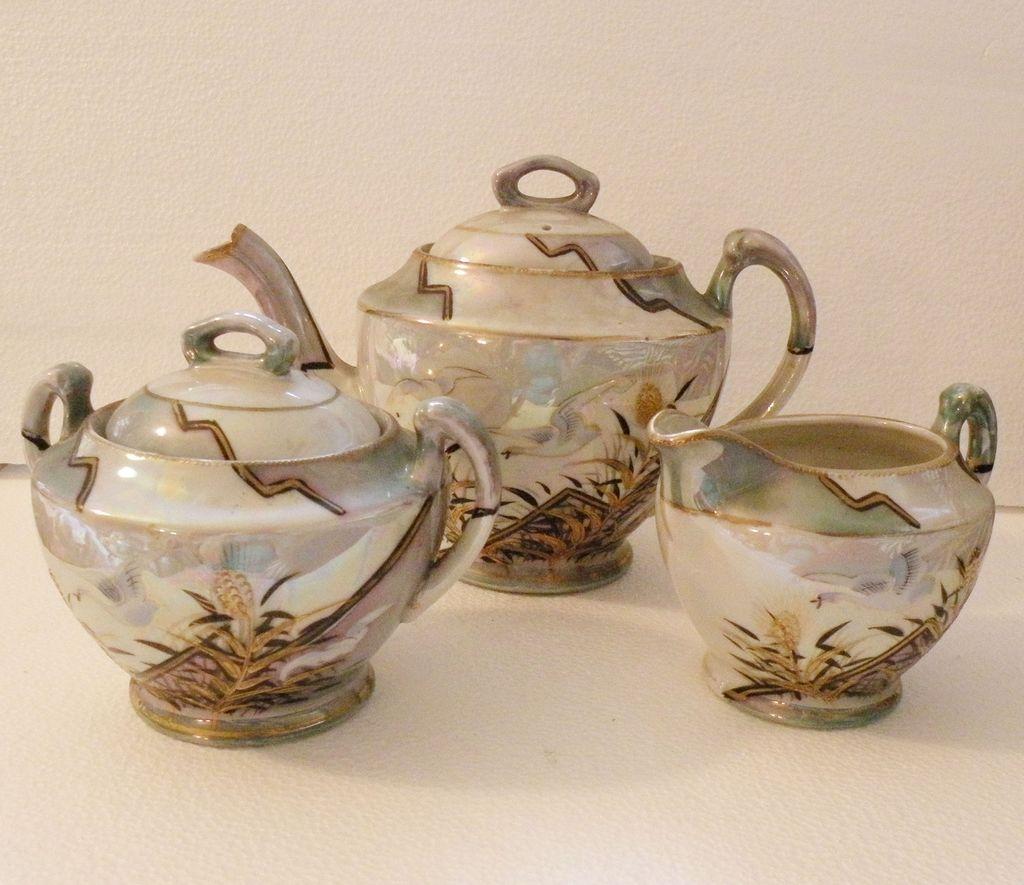 JAPANESE Iridescent Painted Five Piece Tea Pot Set