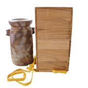 Signed Heavy JAPANESE Raku Vase in Original Wood Box Crate-Never Used