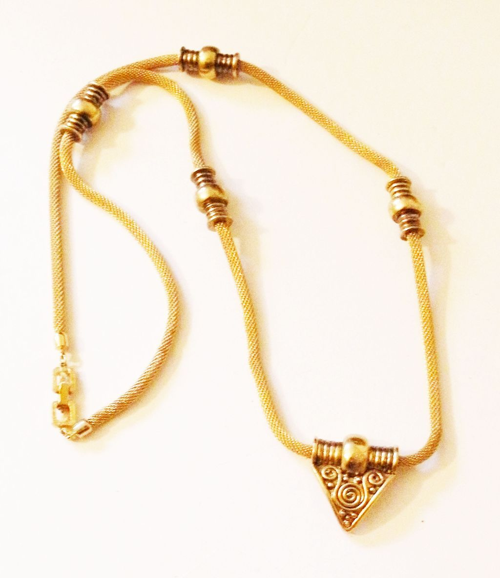 GIVENCHY 1977 Gaspipe Sautoir Necklace with Gold Tone Stations and Drop
