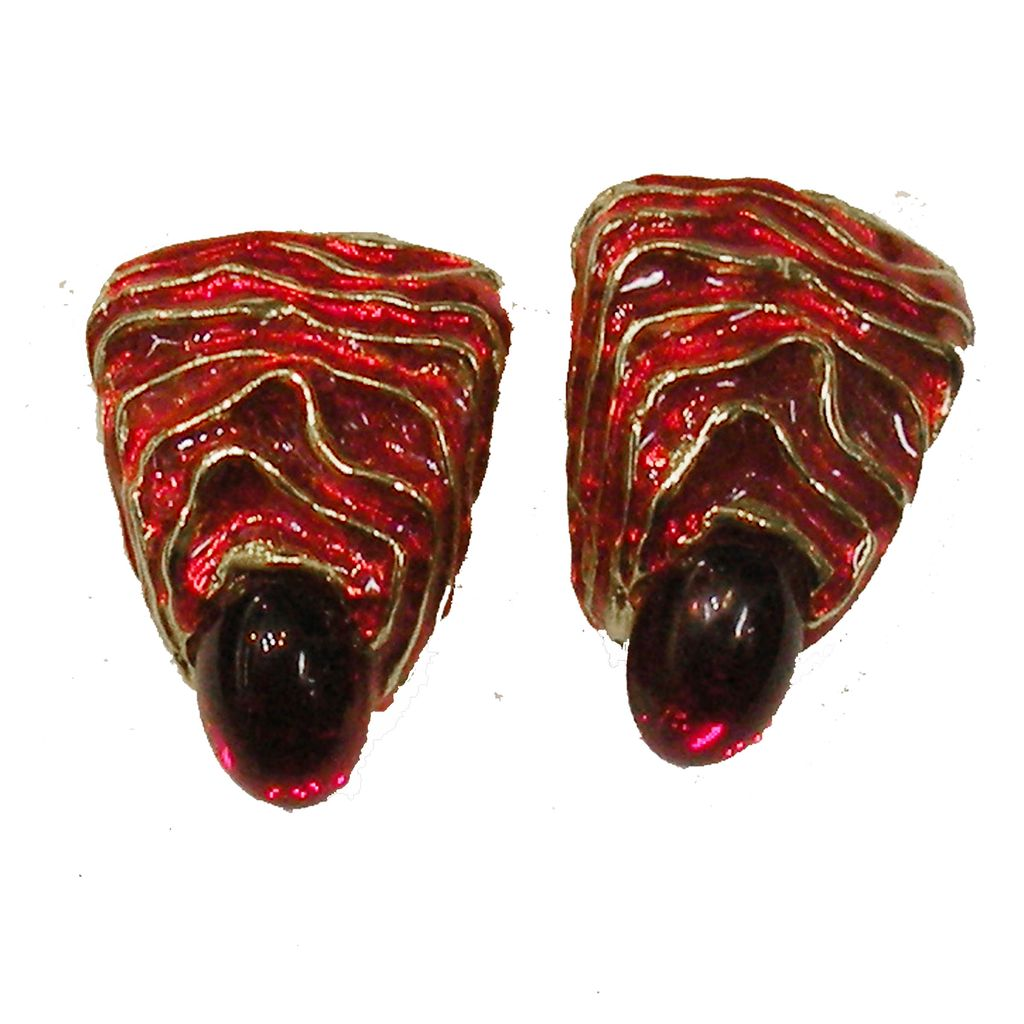 BLANCA Red Enamel and Cabochon Wavy Design Holiday Earring