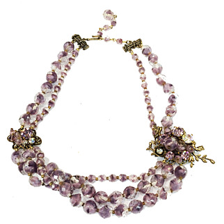 SALE Ladylike Lilac and Clear European Glass Bead Necklace with Triple Strand Drop and Brass Detailing
