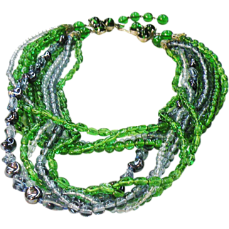 SALE MADE IN GERMANY Blue Green Multi Colored Variegated Beaded Necklace
