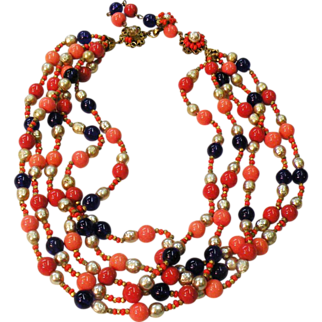 SALE MIRIAM HASKELL Coral Colored and Royal with Imitation Pearl Multi Strand Glass Beaded Necklace