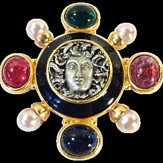 SALE Medusa Head Mogul Colored Glass Cabochon with Imitation Pearls & Enamel Gold Tone Brooch