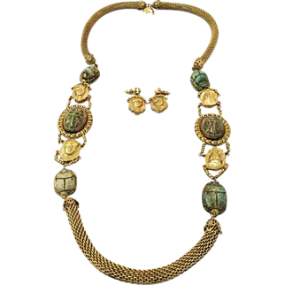 SALE MIRIAM HASKELL by Lawrence Vrba Green Scarab and Pharaoh Long Necklace and Earrings