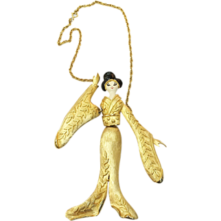 SALE Large Articulated 6 1/4 Inch Geisha Pendant Necklace with Enamel and Leaf Textured Gold Tone Metal