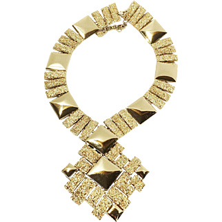 """SALE MONET Large Bright and Textured Gold Tone Metal Massive """"V"""" Necklace with Abstract Modernist Drop Pendant"""