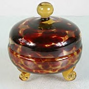 Art Deco Bohemian Leopard Spotted Covered Glass Powder Container