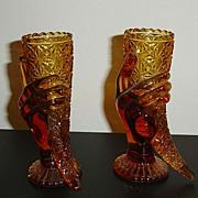 Set of Amber Glass Star Cut Hand Vases