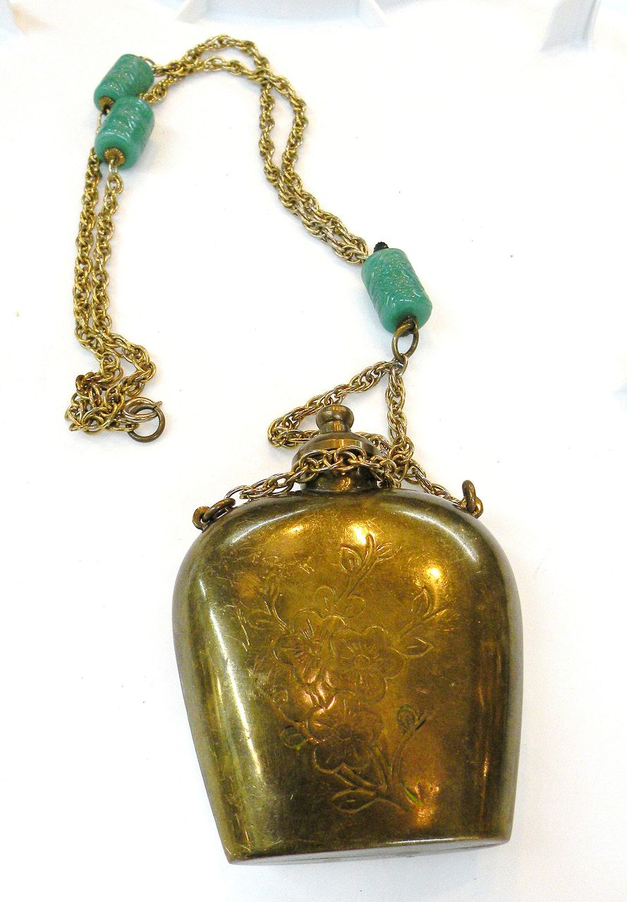 Etched Pendant Flask and Carved Green Bead Pendant Necklace