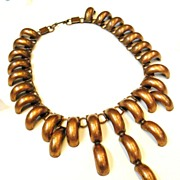 Copper Modernist Tire Track Bib Necklace