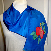 100% Silk Signed Batik Designed & Dyed Scarf.  Royal Blue with Apples.  Exquisite. Mint condition.